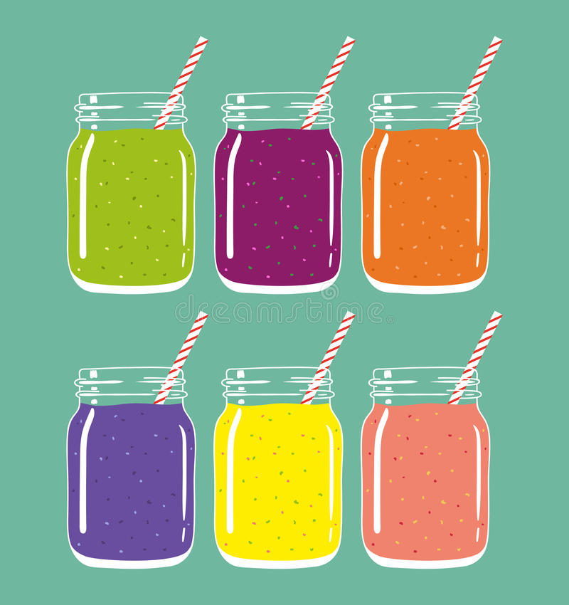 Set of 6 different fresh fruit and berry smoothies in mason jars with straw. Vector hand drawn illustration. vector illustration