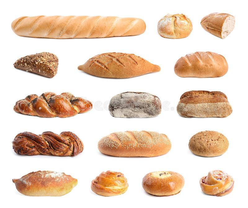 Set with different fresh loaves of bread and pastries on background stock image