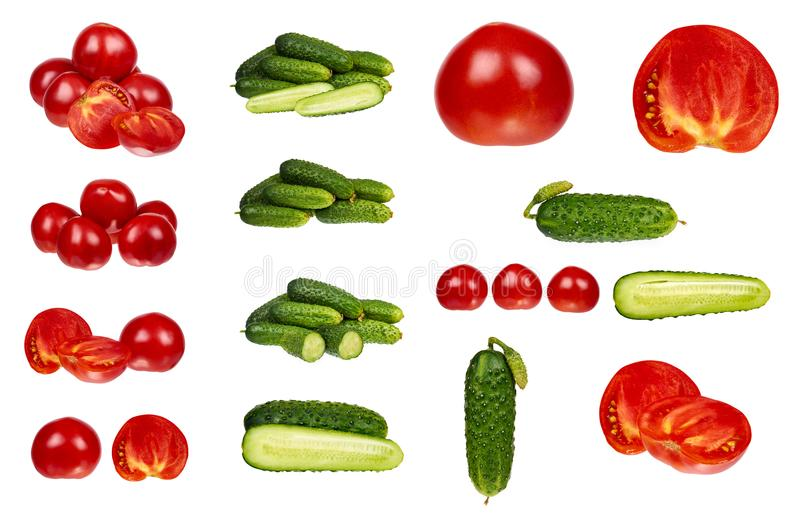 set of different Fresh organic red tomato and cucumber isolated on the white background stock photography