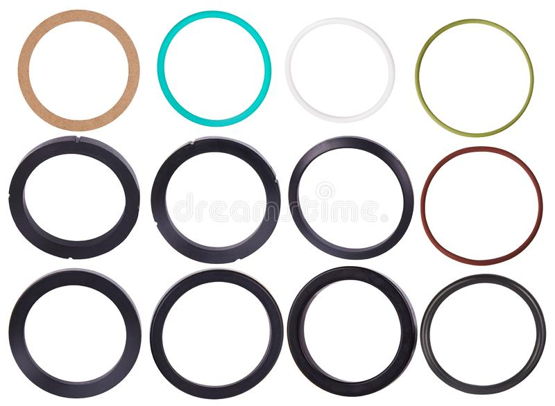 Set of different gaskets isolaled on white background. Oil seals for hydraulic cylinders for Industrial. On white background. Various Oil Seals chemical stock photography