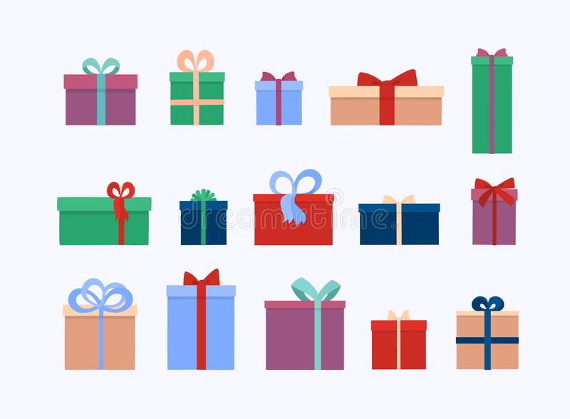 Set of different gift boxes and  presents isolated on white background. Flat vector illustration stock illustration