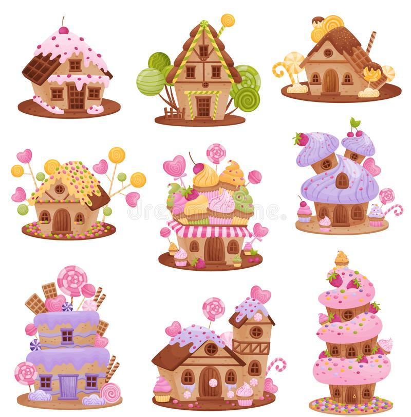 Set of different gingerbread houses. Vector illustration on white background. Set of different gingerbread houses. Decorated with waffles, cream, icing stock illustration
