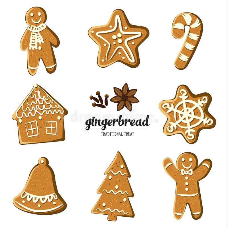 Set of different gingerbreads: man, Christmas tree, bell, star,snowflake,candy cane and house . Vector illustrated vector illustration