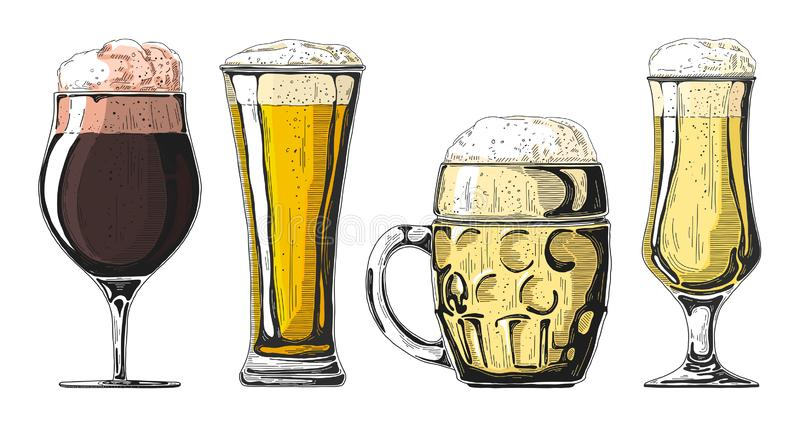 Set of different glasses with beer, different mugs of beer. Vector illustration. Of a sketch style royalty free stock photography