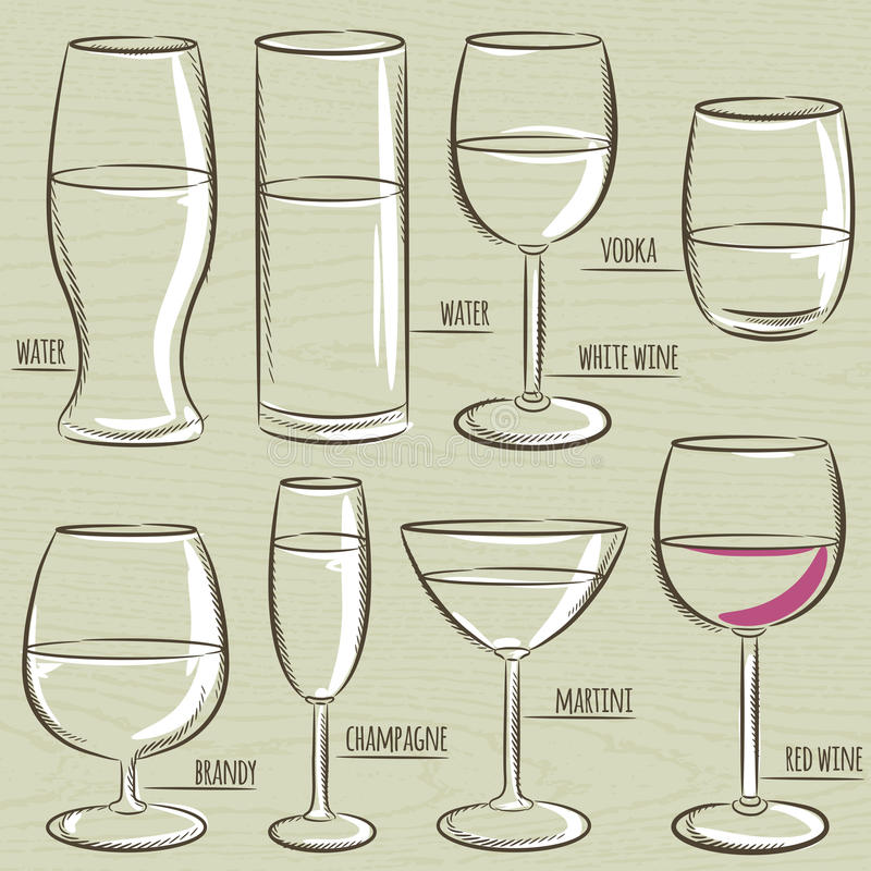 Set of different glasses, vector royalty free illustration