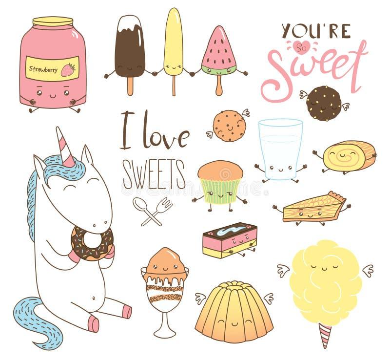 Cute hand drawn dessert doodles with unicorn stock illustration