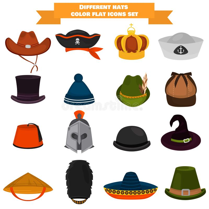 Set of different hats color flat icons. For web and mobile design stock illustration