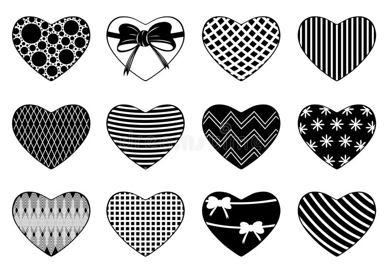 Set of different hearts. Isolated on white stock illustration
