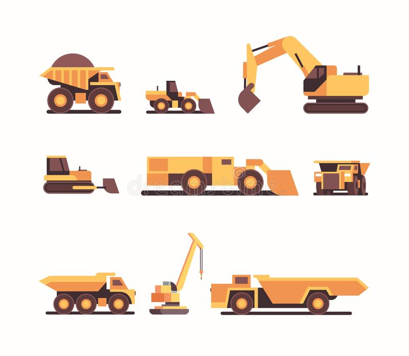 Set different heavy yellow industrial machines coal mine production professional equipment mining industry transport. Concept flat vector illustration stock illustration