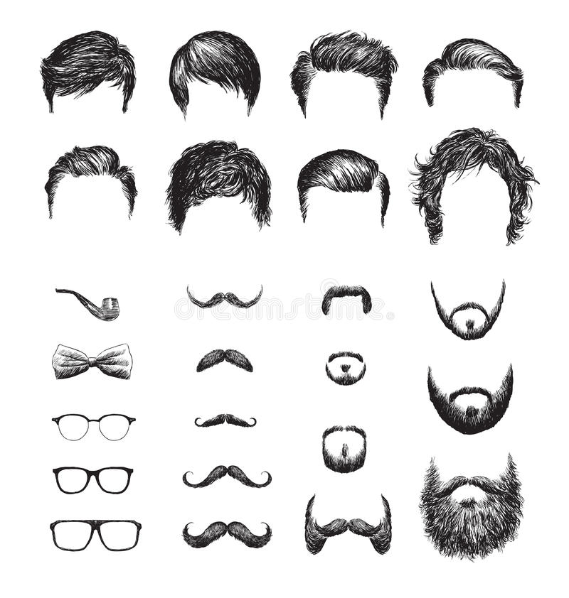 Set of different Hipster haircuts, beards, glasses, bowtie and pipe.  stock illustration