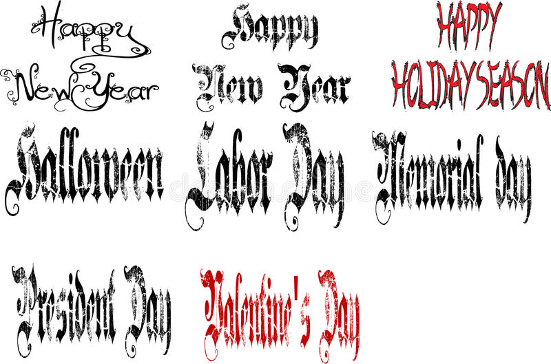 Set of different holiday signs. In different decorative fonts royalty free illustration