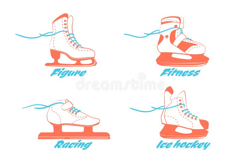 Set of different ice skates - figure, fitness, Racing, hockey. Type of ice skate boots. Winter sport equipment logo in vintage vector illustration