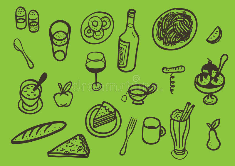 Download Set Of Different Iconic Food Stock Vector - Image: 18364658