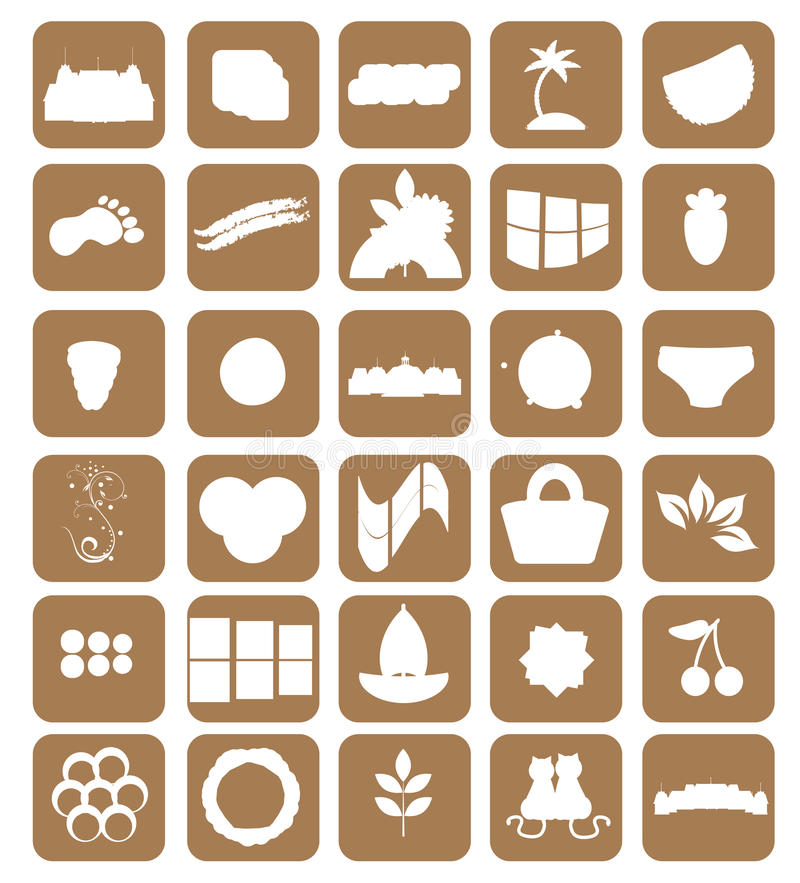Download Set Of Different Icons. Brown. Vector Royalty Free Stock Images - Image: 28334889