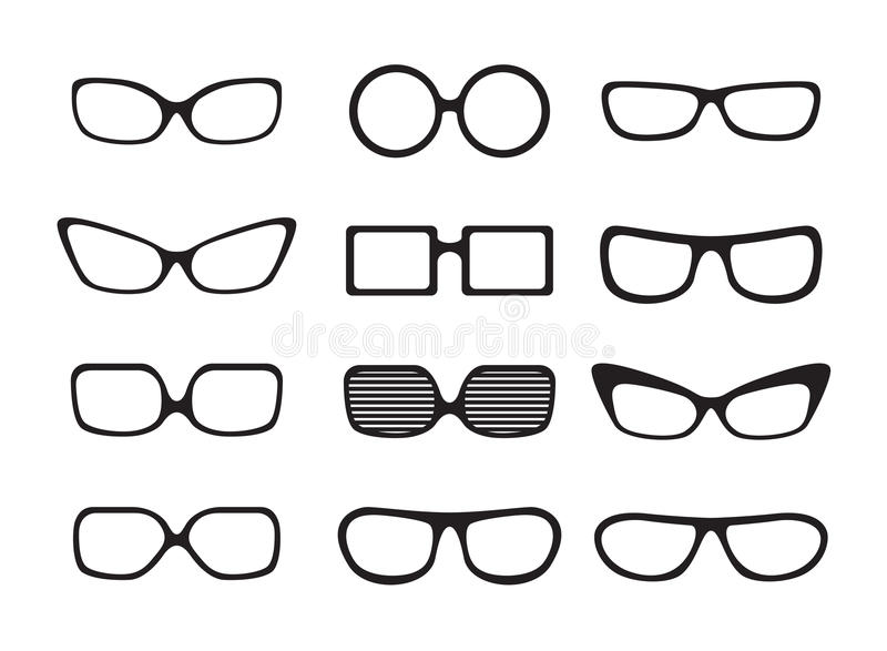 Set of different icons glasses
