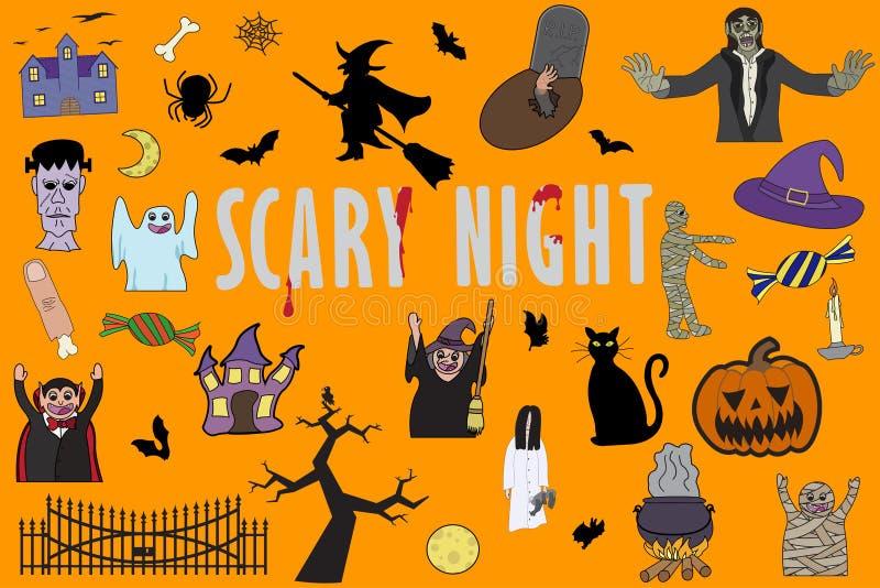 Set of different  illustration for halloween on orange background royalty free stock images