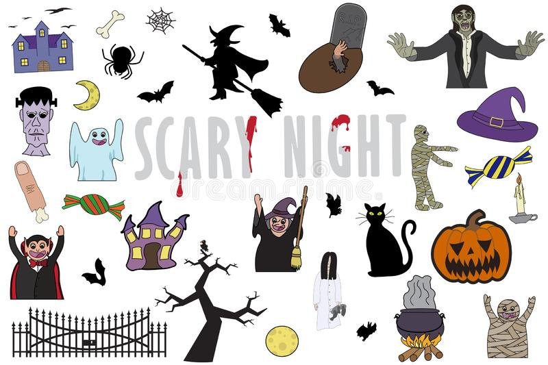 Set of different  illustration for halloween on white background royalty free stock photos