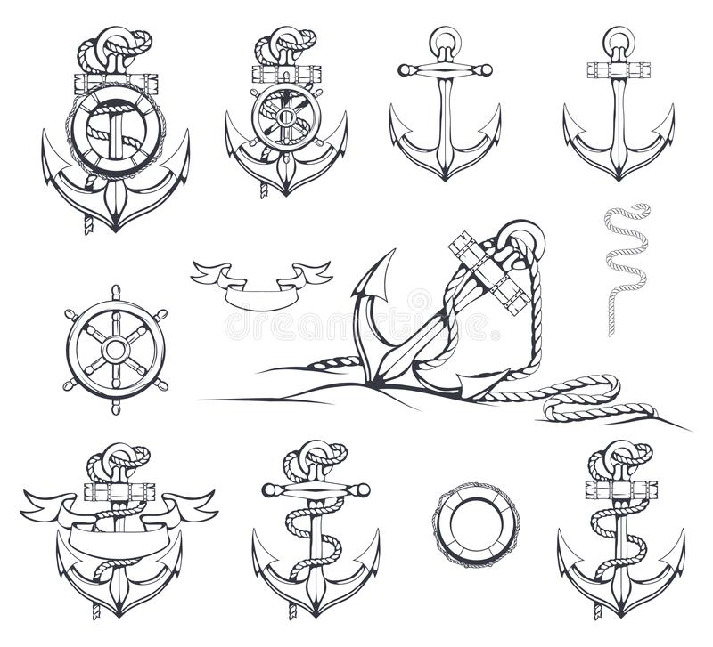 Set of different illustrations of anchors. Ship`s Steering Wheel. Life buoy. Hand Drawn anchor. stock illustration