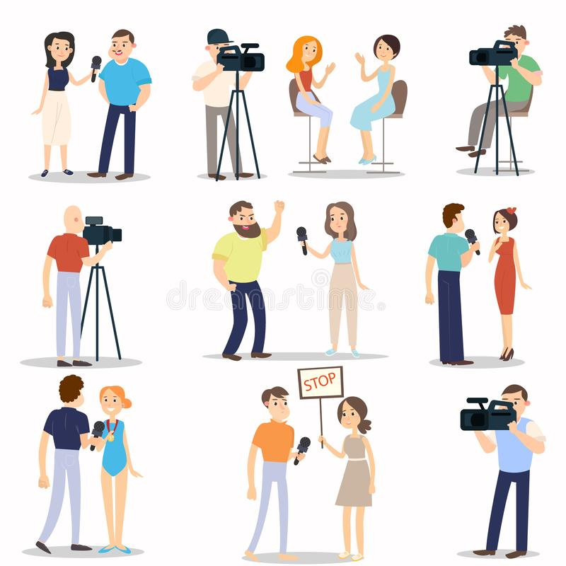 Set of different interview modern situations, city daily life. Set of different interview, modern situations, city daily life or breaking news. Flat style stock illustration