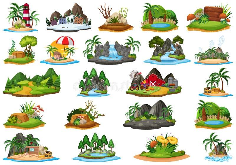 Set of different island landscape vector illustration