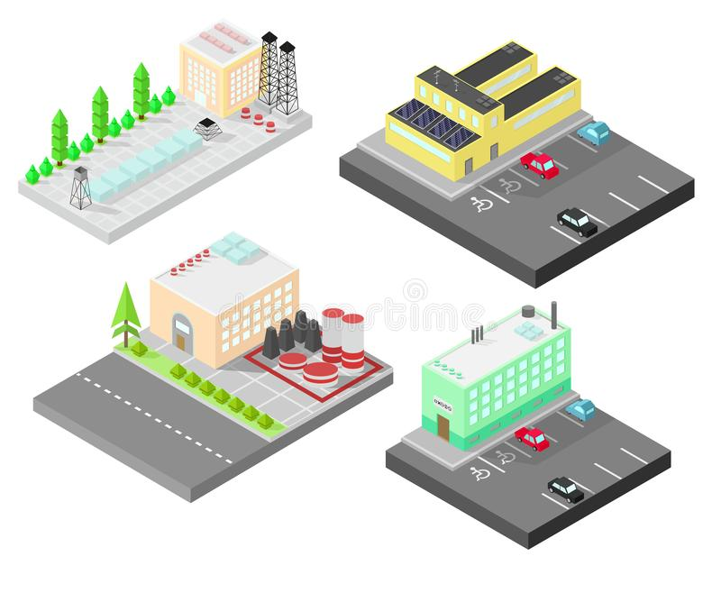 Set of different isometric buildings. Isometric building with solar panel. Road, green bushes in front of house. Vector illustrati. On isometric style vector illustration