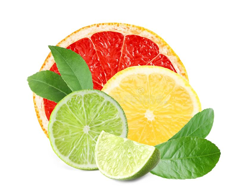 Set of different juicy citrus fruits. On white background royalty free stock photography
