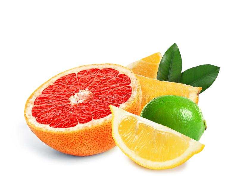 Set of different juicy citrus fruits. On white background stock image