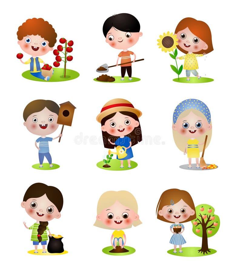 Set of different kids character in outdoor summer activities vector illustration