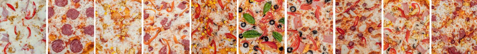 Set of different kind of pizza isolated on white background royalty free stock photo