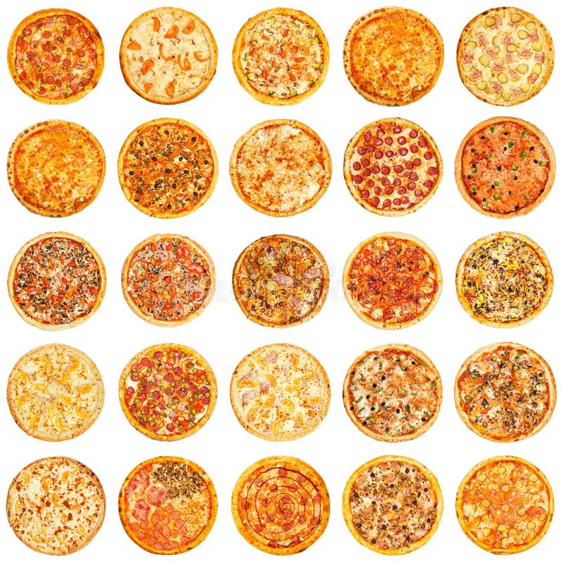 Set of different kind of pizza stock photos