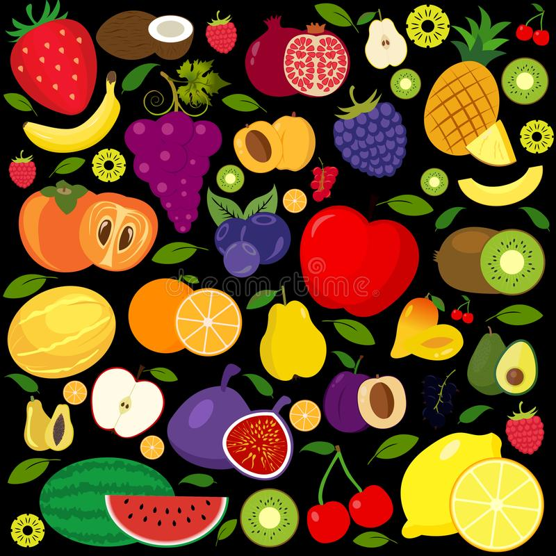 Set of fruits and vegetables icons vector illustration