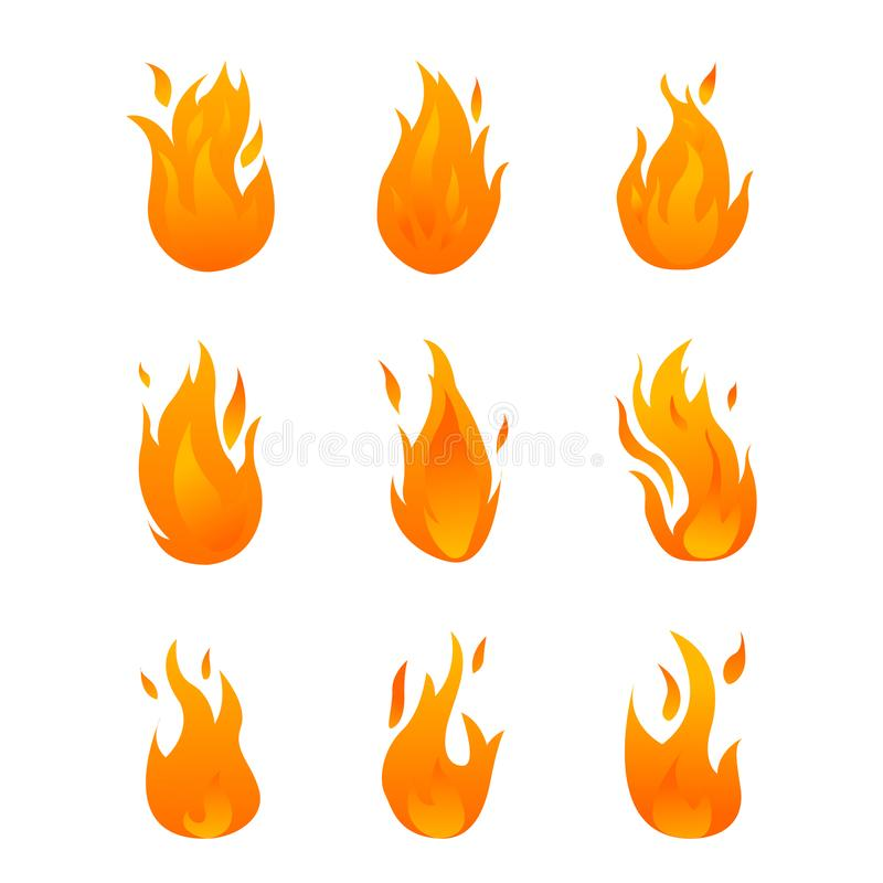 Set with different kinds of gradient flames stock illustration