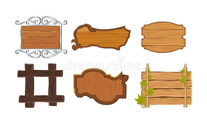 Set different kinds of wooden signboards with frames, decorative elements. stock illustration
