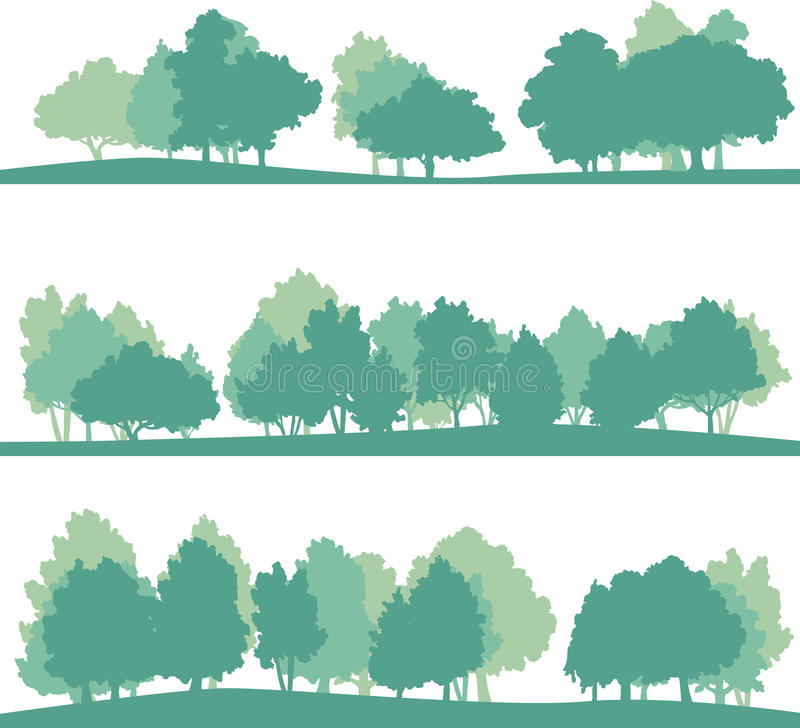 Set of different landscape with trees. Set of different silhouettes of landscape with trees, vector illustration vector illustration