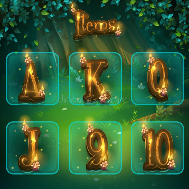 Set of different letters for game user interface. Vector illustration screen to the computer game Shadowy forest GUI. Background image to create buttons vector illustration