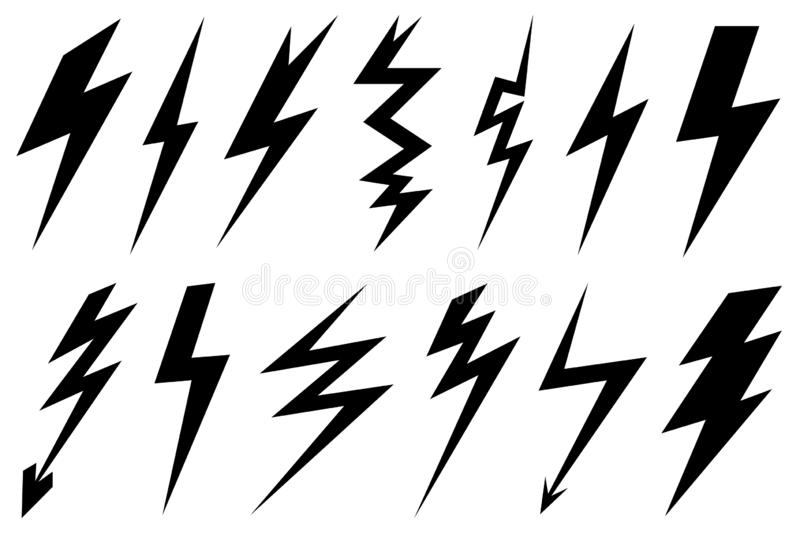 Set of different lightning bolts royalty free illustration