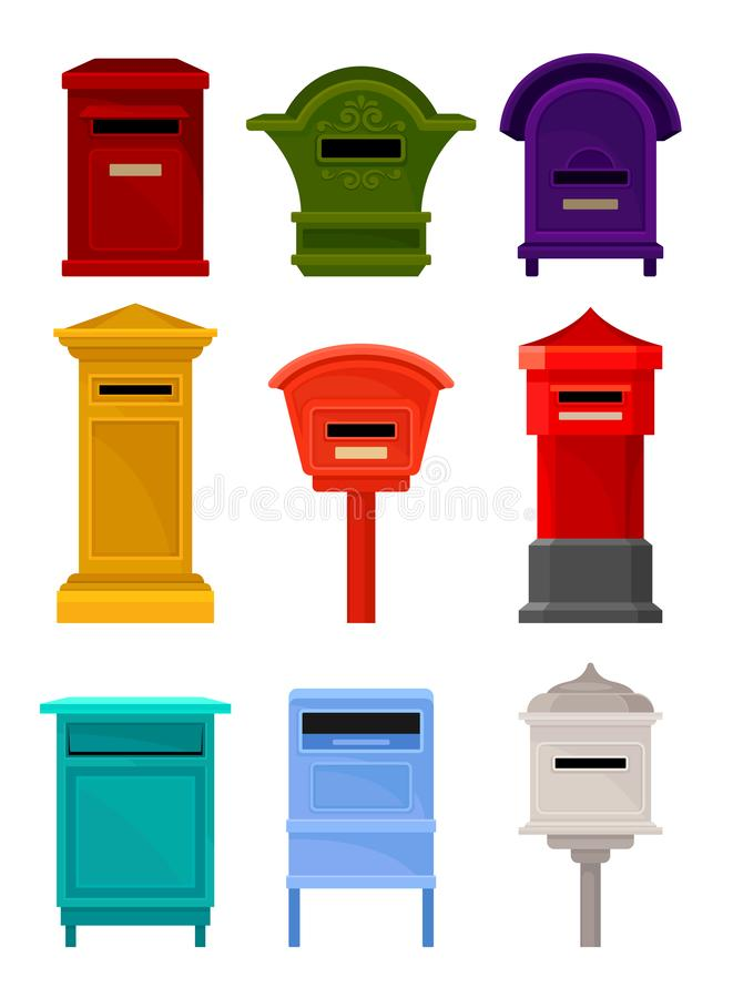 Flat vector set of mailboxes. Colorful containers for letters and newspapers. Iron postal boxes for correspondence. Set of different mailboxes. Colorful vector illustration