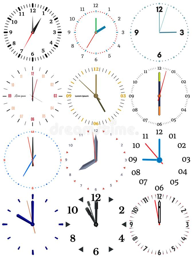 A set of different mechanical clocks with an image of each of the twelve hours. stock illustration