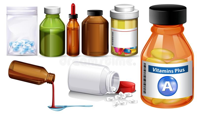 Set of different medience containers and pills. Illustration vector illustration