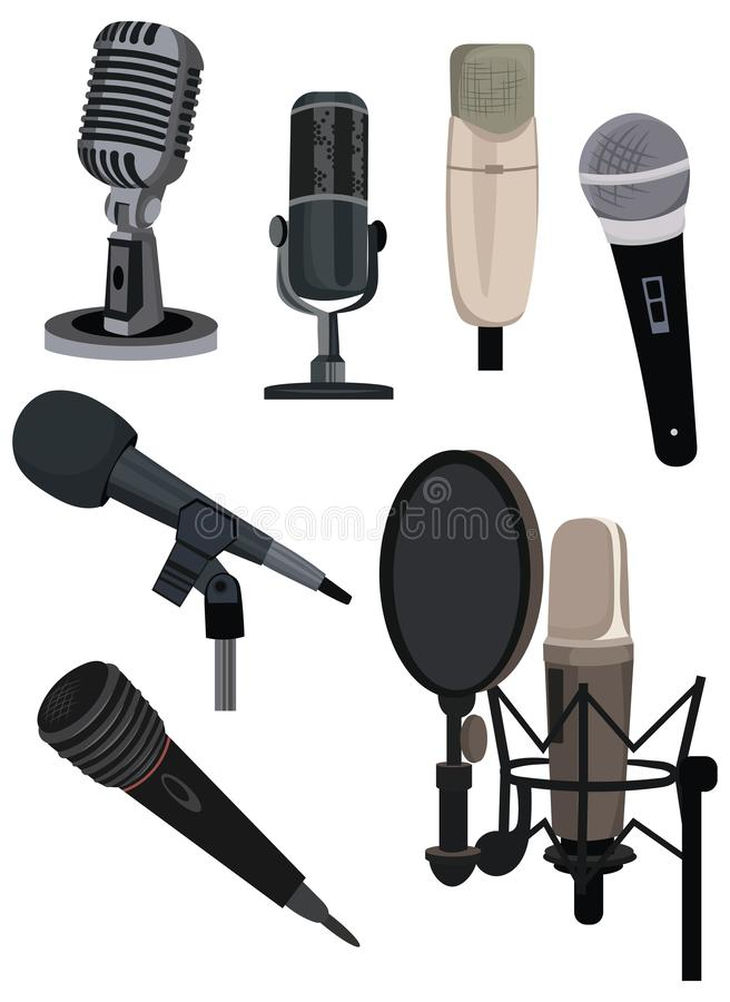 Set of different microphones. Collection of devices for audio podcast, broadcast or music recording recording sound. Color illustration of a microphone on a stock illustration