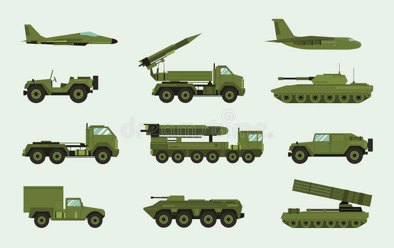 Set of different military transport. Modern equipment collection fighting machine, air defense, car, truck, tank. Armored vehicles, artillery pieces. Vector royalty free illustration