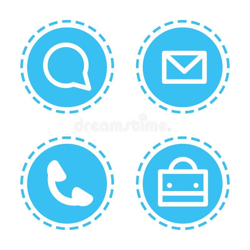 Set different mobile app icons communication web applications collection white background flat. Vector illustration royalty free illustration