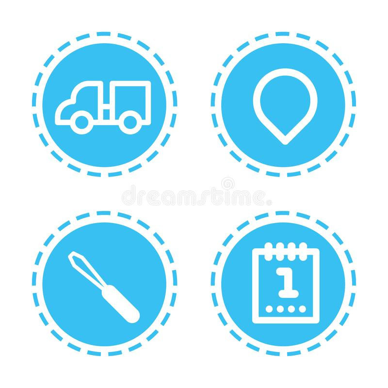 Set different mobile app icons web applications collection white background flat. Vector illustration stock illustration