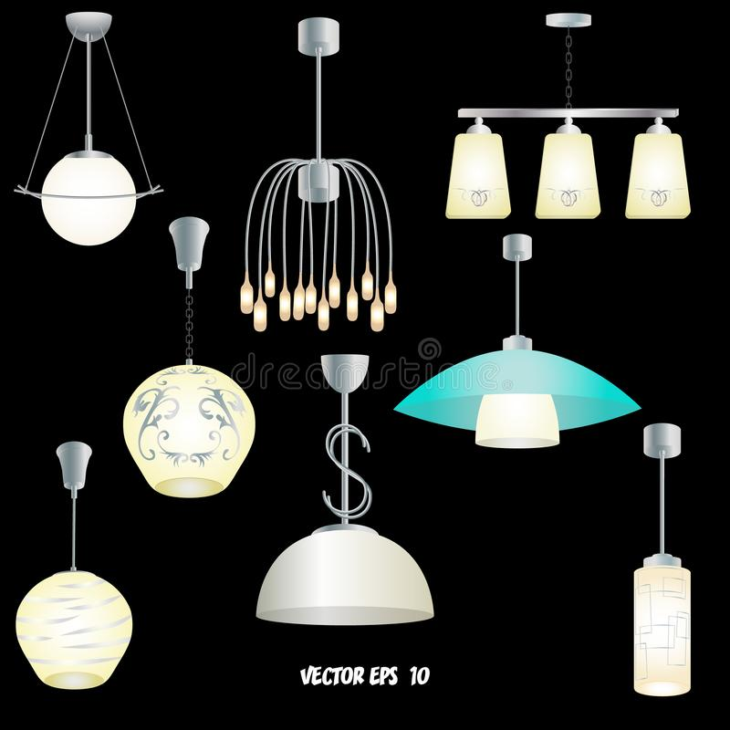 Set of different modern lights for the kitchen, living room, bedroom royalty free illustration