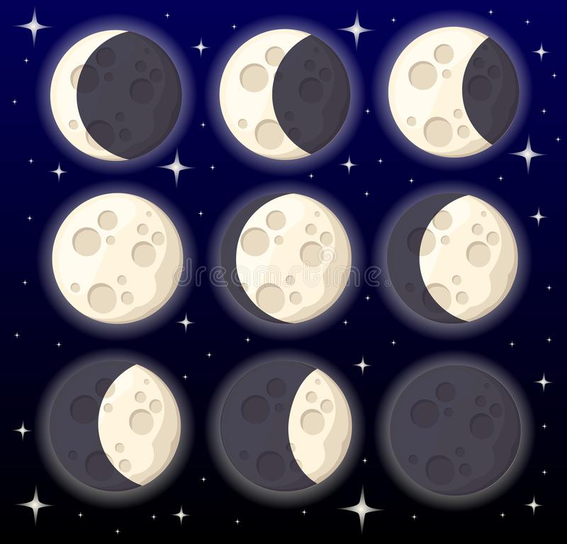 Set of different moon phases space object natural satellite of the earth illustration isolated on style background web site. Set of different moon phases space vector illustration