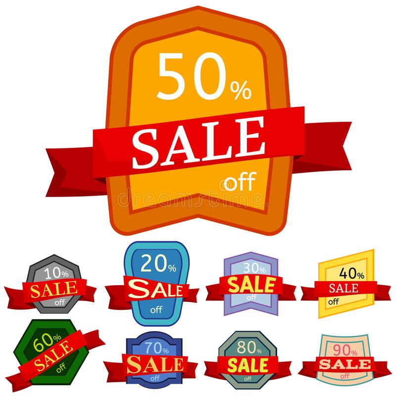 Set of different nine discount stickers. Colorful badges with red ribbon for sale 10 - 90 percent off. Vector illustration vector illustration
