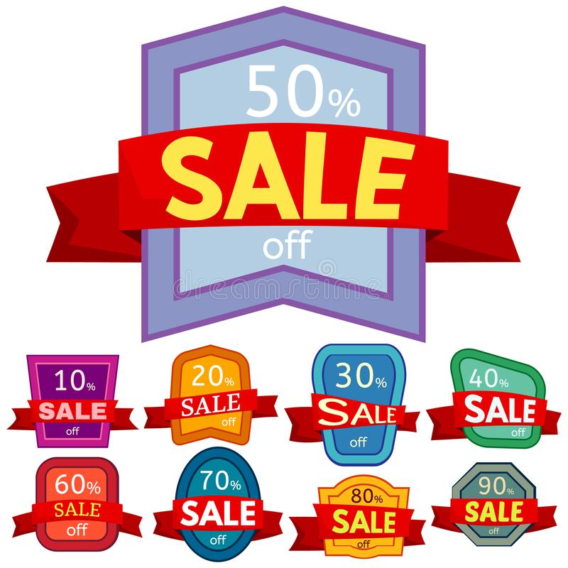 Set of different nine discount stickers. Colorful badges with red ribbon for sale 10 - 90 percent off. Vector illustration stock illustration