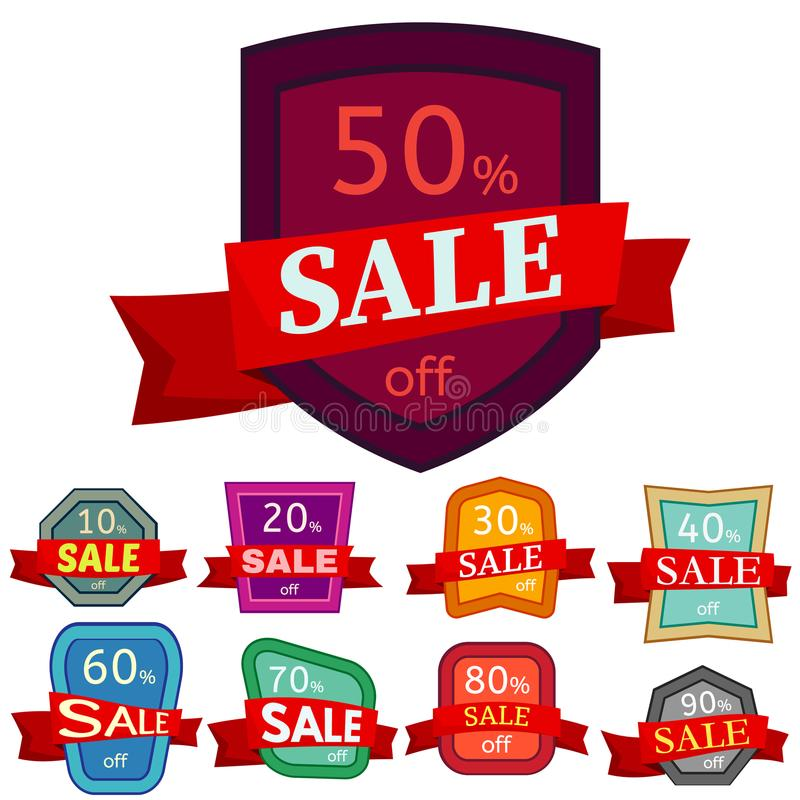 Set of different nine discount stickers. Colorful badges with red ribbon for sale 10 - 90 percent off. Vector illustration royalty free illustration