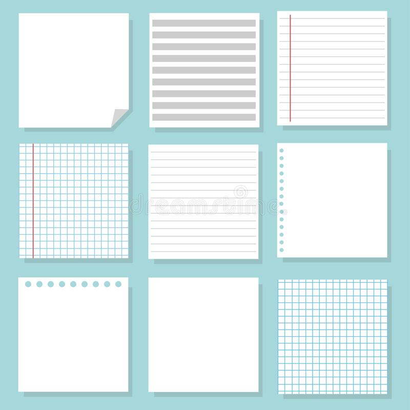 Set of different notebook paper. Set of white paper. School sheets royalty free illustration