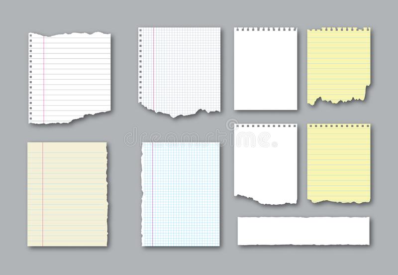 Set of different notebook torn pages and pieces of ripped paper for notes. Vector illustration royalty free illustration